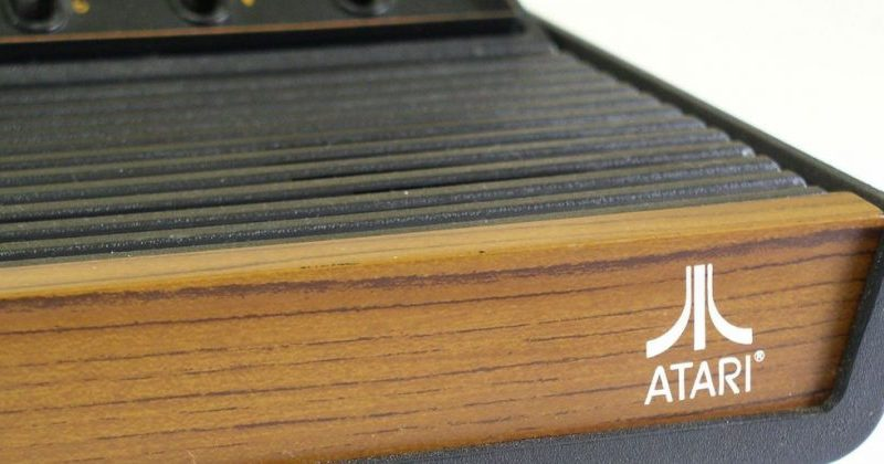 classic atari console with wood finish